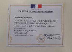 Blague poison d'avril Ministre éducation nationale